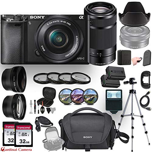 Sony Alpha a6000 (Black) E-Mount Mirrorless Camera with 2 Sony Lenses (E 16–50mm f/3.5–5.6 OSS and E 55–210mm f/4.5-6.3 OSS) + Professional Accessory-Kit Bundle