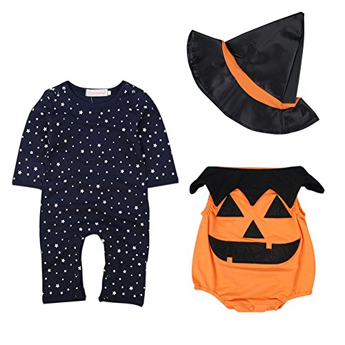 Soly Tech Baby Boys Halloween Party Costume Pumpkin Romper Jumpsuit + Witch (Halloween Costumes 3-6 Months Uk)