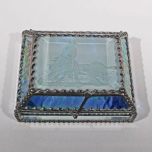 Cowboy, Cutter, Rodeo, Stained Glass Jewelry Box, Presentation Box, Keepsake Box, Glass Jewels, Swarovski Crystals, USA Made