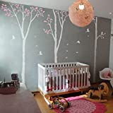 Large Family Tree Branch Wall Decal Birds Wall Decal Art Sticker Mural Personalized Lively Tree Wall Sticker Wallpaper B(X-Large,Trunk and Birds:White;Leaves:Soft Pink)