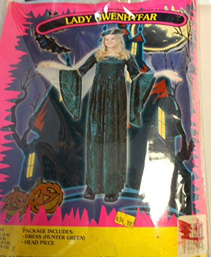 Lady Gwenhyfar Child Costume Hunter Green Dress 4-6 NIP