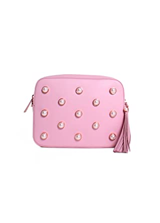 155ad0075efab Amazon.com  Ted Baker London Alessia Leather Faux Pearl Embellished Camera  Bag in Dusky Pink  Clothing