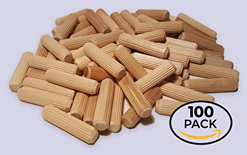 100 Pack 1/2'' x 2'' Wooden Dowel Pins Wood Kiln Dried Fluted and Beveled, Made of Hardwood in U.S.A. by Rhino Wood Industries