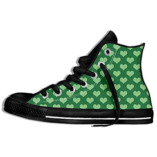 Baskets Montantes Classiques Toile Chaussures Anti-dérapant Vert Coeur Casual Marchant Pour Hommes Femmes Noir