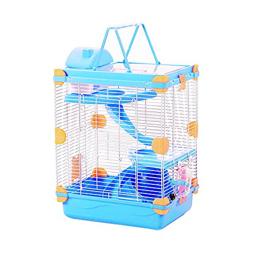 Petzilla 3-Tier Hamster Cage, Portable Carrier for Small Animals (Blue) by Petzilla