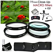 High Resolution 77mm Close-Up MACRO Filter Set + Accessory Kit for NIKON 28-300mm, 18-300mm DSLR Zoom Lenses and CANON 24-105MM, 10-22MM, 17-40MM Lenses - Includes: 77mm Close-up Macro filters 1+ 2+ 4+ 10+ + Wallet Case Holder + Lens Cap Keeper + Fle