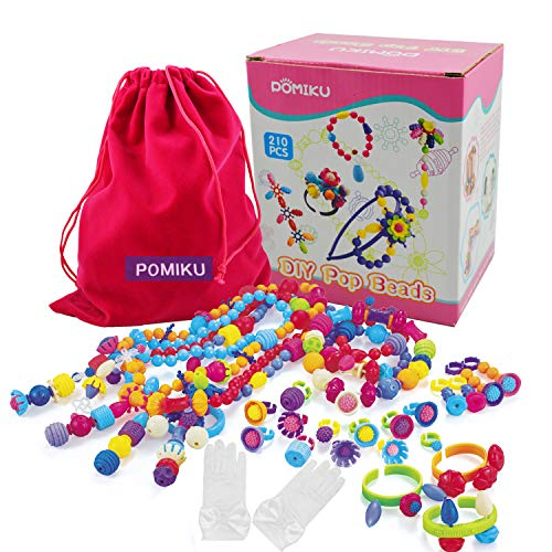 Pop Snap Beads, Best Top Christmas Birthday Gift for 4, 5, 6, 7, 8 Year Old Little Girls, Art and Craft Fine Motor Skill Toy Set for Preschool Kids Age 3yr Up, Toddlers Bracelet Jewelry Making Kit (Motors For Crafts)