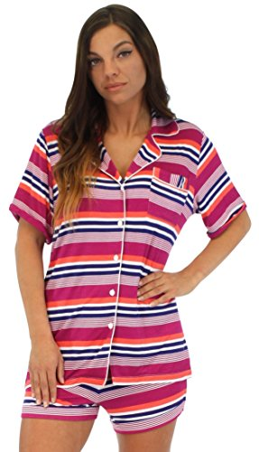 Pajama Heaven Women's Color Stripe shortsheeve button-down and short set (PHV1927-2024-SML)