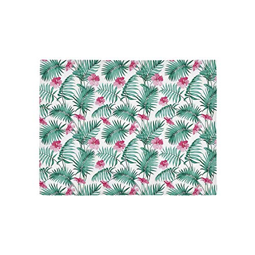 Watercolor Utility Area Rug,Tropical Ferns with Flowers Exotic Hawaii Floral Arrangement Blossoming Nature Decorative for Home,84