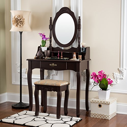 Fineboard Vanity Table Set Wooden Dressing Table with Single Mirror, Organization Drawers Makeup Table and Stool (Brown)