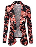 Doublju Classic Draped Open Front Blazer for Women with Plus Size Blackpink Small