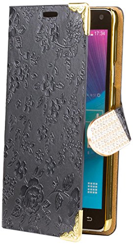Samsung Galaxy Note 4 | iCues Chrome Flower Wallet Black | [Screen Protector Included] Floral Folio Flip Case Crystal Diamond Rhinestone Bling Glitter Women Girl (Samsung Note 4 Case Bling Wallet)