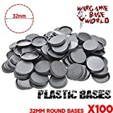 32mm Round Plastic Bases For Gaming Miniatures And Table Games 100pcs