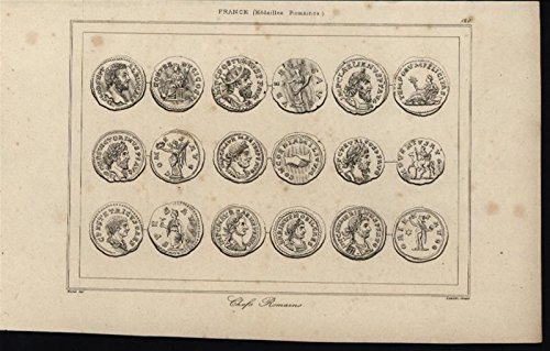 Medals Coins Currency Roman Chiefs Artifacts France 1840 antique engraved ()
