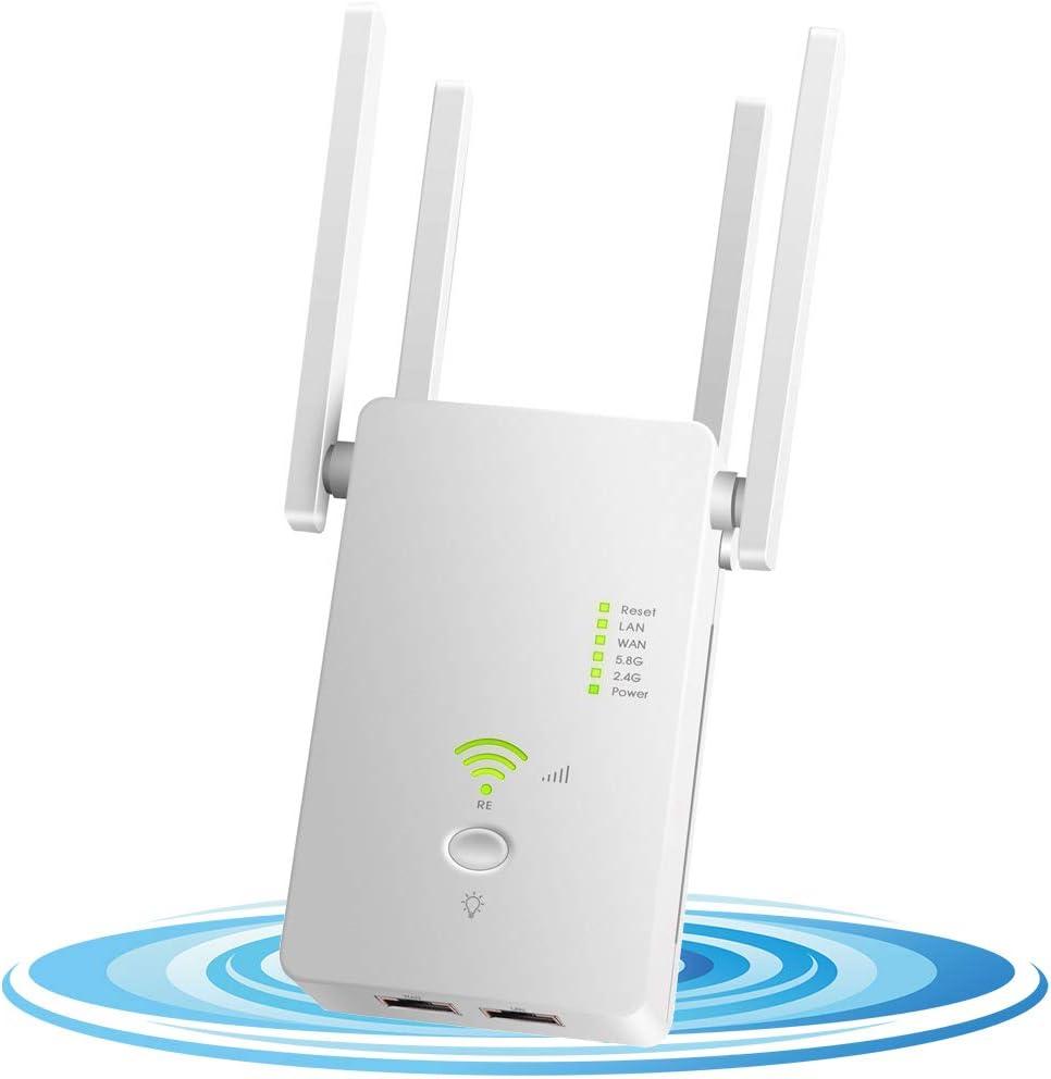 DCUKPST Repetidor WiFi 1200Mbps, Amplificador Señal WiFi 5G & 2.4G Extensor de Red WiFi Largo Alcance con Ap/Repeater/Router Modos, 4 Antenas ...