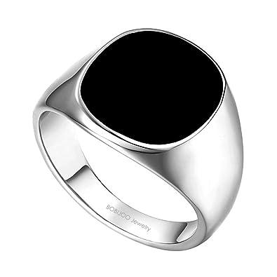 93a8cc3b85eb BOBIJOO Jewelry - Bague Chevalière Cabochon Homme Femme Acier Inoxydable  316L Argenté Noir Email - 53