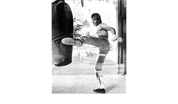 Road House Patrick Swayze Bare Chested Kicks Punch Bag 11x14