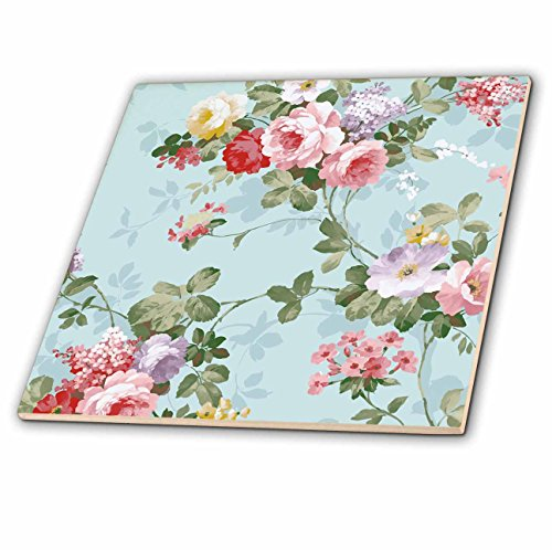 3dRose Sven Herkenrath Vintage - Trendy Vintage Flower Pattern on Lovely Blue Background - 4 Inch Ceramic Tile (ct_281685_1)