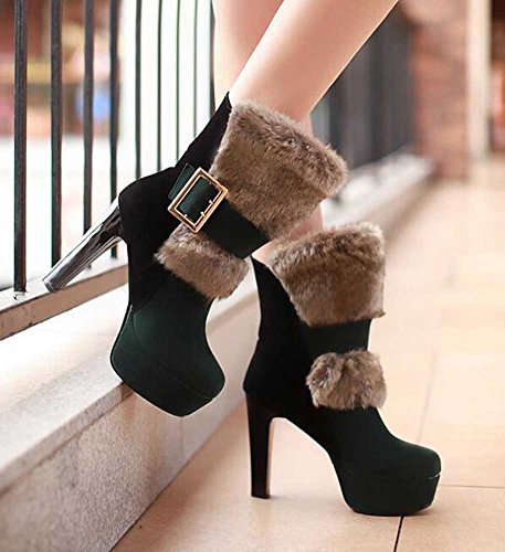 CHFSO Womens Sexy Waterproof Faux Fur Lined Buckle Chunky High Heel Platform Warm Ankle Winter Boots Green sXfuoUZ