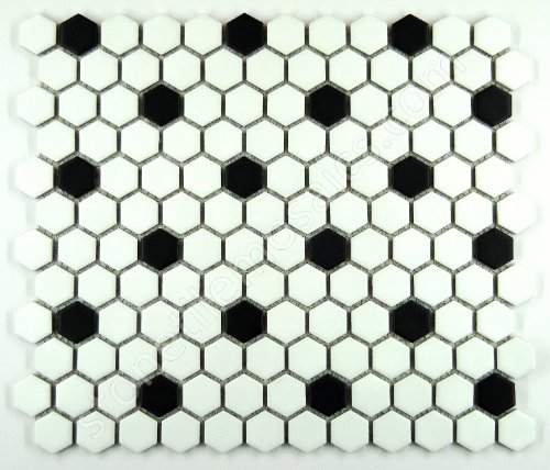 (Hexagon White with Black Dots Porcelain Mosaic Tile Matte Look (Lot of 50 sq .ft.))