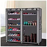 Double Shoe Boot Closet Rack Shelf Storage Organizer Cabinet Portable- 9 Layer (gray)