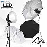 LimoStudio 2700 Lumen LED Light Bulb with 7.5' Diameter Metal Dish Lamp for Concentrative Spotlight, Light Stand Tripod, White Umbrella Reflector, Photography Video Studio, AGG2605V2