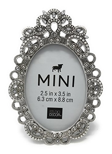 Bejeweled Oval Silver Tone Metal Mini Picture Frame, Holds 2.5 x 3.5 ()