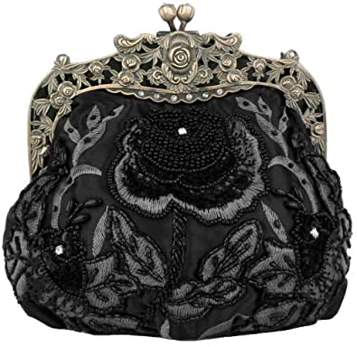 MG Collection Antique Beaded Rose Evening Purse Clutch Handbag w/Removable Chain