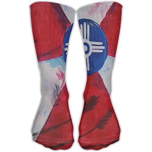 Wichita Flag Sports Running Long Socks Novelty High Athletic Sock - Dress Wichita Shops In