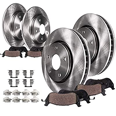 Detroit Axle - SINGLE PISTON Front and Rear Disc Brake Rotors w/Ceramic Pads w/Hardware for 2012-2016 Chrysler Town & Country/Dodge Grand Caravan - [2013-2014 VW Routan] [13 Journey]