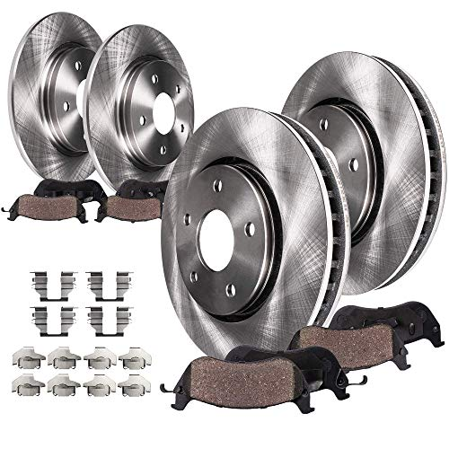 Detroit Axle - SINGLE PISTON Front and Rear Disc Brake Kit Rotors w/Ceramic Pads w/Hardware for 2012-2016 Chrysler Town & Country/Dodge Grand Caravan - [2013-2014 VW Routan] [12-13 Journey]