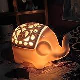 Zehui Salt Lamp Creative Elephant-Shape Crystal Salt Bed Lamp Cute Night Light for Kids Bedroom Home Decoration Christmas Gift 15W US Plug