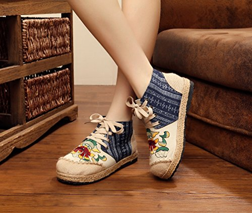 Ausom Womens National Embroidery Flats Shoes Linen High Top Lace up Walking Shoes Beige c7yZI6ar