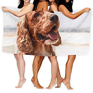 PengMing Brown English Cocker Spaniel Premium 100% Polyester Large Bath Towel, Suitable for Hotel, Swimming Pool, Gym, Beach, Natural, Soft, Quick Drying 1