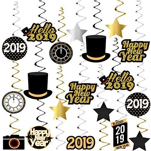Happy New Year Hanging Swirl – Pack of 40, Sturdy | 2019 New Years Eve Swirls | New Years Eve Party Supplies 2019 | New Year Party Decoration | Hollywood Oscar Black and Gold NYE Decorations 2019 ()