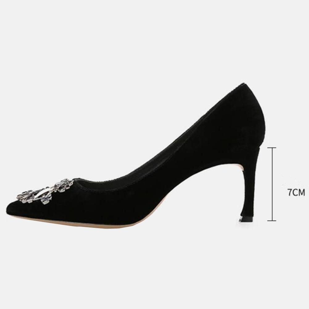 Frauen Herbst Suede Mid Heels Shallow Mund Single hoch Single Mund Spitz Schuhe 698f47