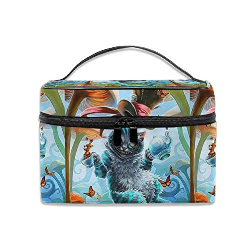 LCXjj Alice in Wonderland Cat and Mushroom Multifunction Travel Makeup Case,Professional Cosmetic Makeup Bag Organizer Makeup Boxes,Toiletry Jewelry for Women