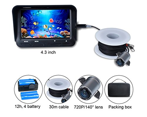 Fish Finder Camera 720P 2MP Underwater Video Fishing Camera System Kit 4.3...