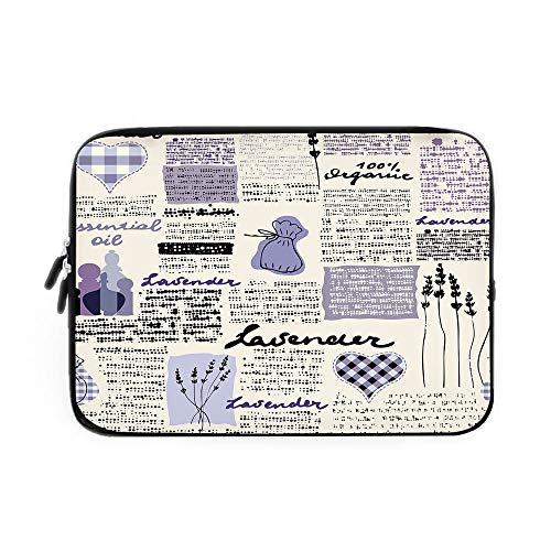 Laptop Sleeve Bag,Neoprene Sleeve Case/Lavender Retro Pattern Hearts Herbs Organic Fragrance Essence Decorative/for Apple MacBook Air Samsung Google Acer HP DELL Lenovo As ()