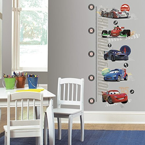 RoomMates INT1585GC Cars 2 Peel and Stick Metric Growth Chart Wall - Chart Adhesive Height