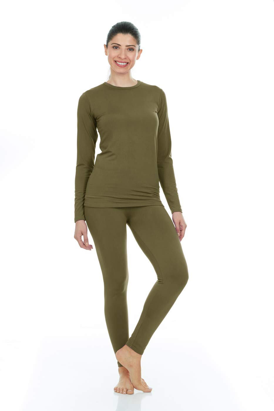 Thermajane Women's Ultra Soft Thermal Underwear Long Johns Set with Fleece Lined (X-Small, Green)