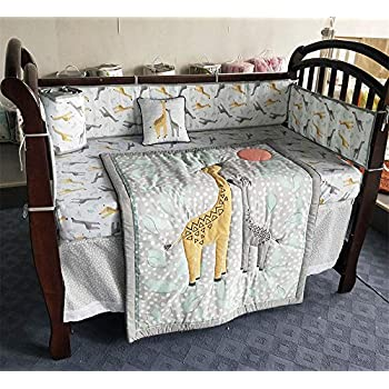 Image of Abreeze Baby Bedding Set Giraffe Nursery Crib Bedding Set for Girls Baby Cot Bedding Set 7-Piece