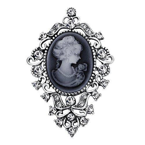 BriLove Women's Wedding Bridal Crystal Victorian Lady Cameo Brooch Pin Grey Black Antique-Silver-Tone by BriLove