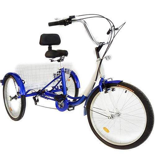 Happybuy 24 Inch Adult Tricycle Series 6/7 Speed 3 Wheel Bike Adult Tricycle Trike Cruise Bike Large Size Basket for Recreation, Shopping,Exercise Men's Women's Bike (Blue)