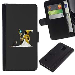 UNIQCASE - Samsung Galaxy Note 4 SM-N910 - The Yellow Wizard - Cuero PU Delgado caso cubierta Shell Armor Funda Case Cover