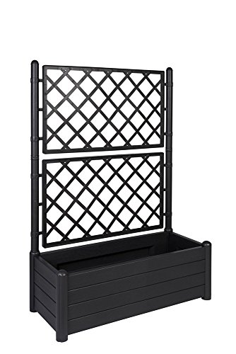 XL Rankgitter, Spalier mit Pflanzkasten aus robustem Kunststoff in Anthrazit/ Grau. Maße BxTxH in cm: 100 x 43 x 142 cm. Topp für Garten, Terrasse und Balkon!