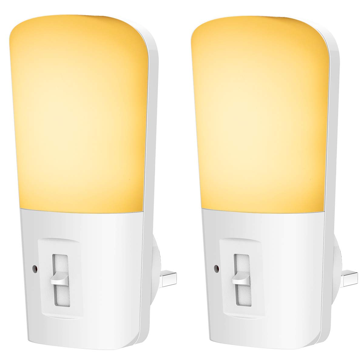 LOHAS Automatic 0.3W LED Night Light Plug-in, Warm White, Dusk Till Dawn Daylight Sensor Smart Light, Energy Saving Design for Children's Room, Living Room(Three-Pin Plug) 4 Pack Energy Saving Design for Children's Room GK-Lighting
