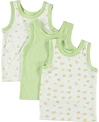 BIG OSHI Baby 3 Pack Sleeveless Undershirt Tank - PLK-804 - Green, 9-12 Months