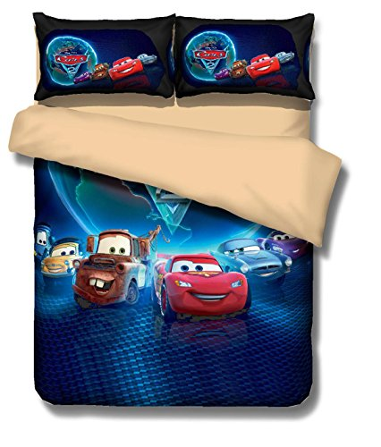3D Cars Cartoon Bedding Sets - MeMoreCool Polyester Reactive Printing No Fading No Filler Only Cover American Size Queen 3PC