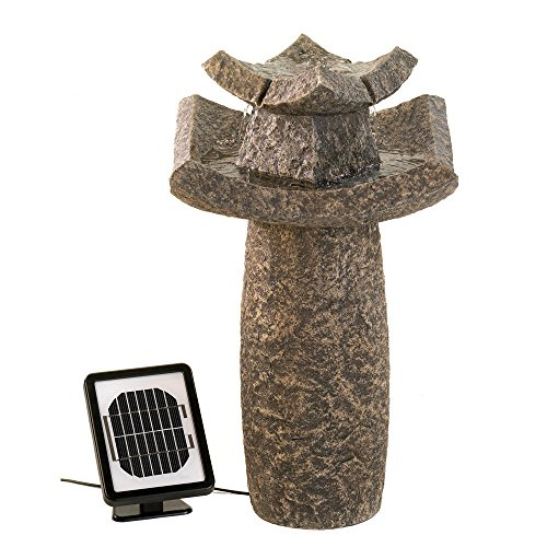 GHP Graceful Asian Temple Solar Water Fountain by Globe House Products